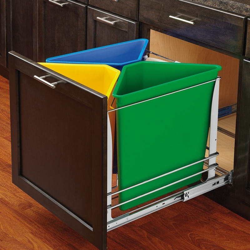 Image of cabinet with multi-color bottom mount trash and recycling pull-out