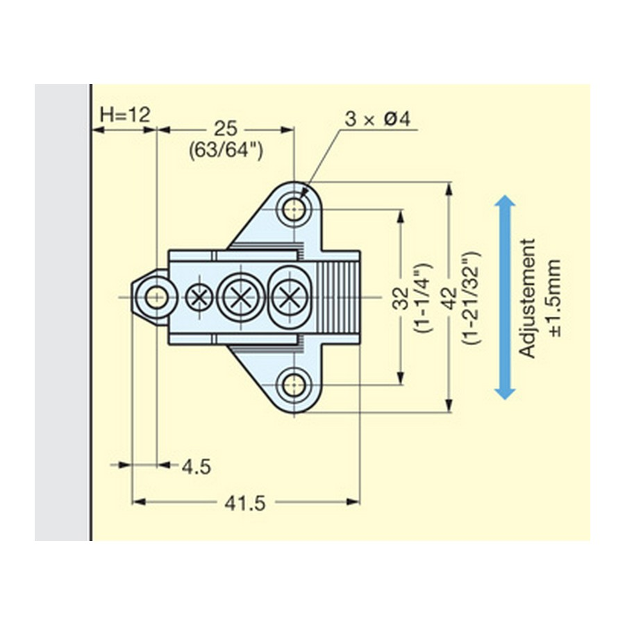 Mounting Plate For H160 Hinges Chrome Sugatsune 100-04A-W-32 Line Drawing