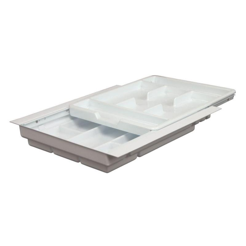 "17-3/4"" 2-Tiered Cutlery Drawer Insert, Plastic, White, KV 1775-W :: Image 10"