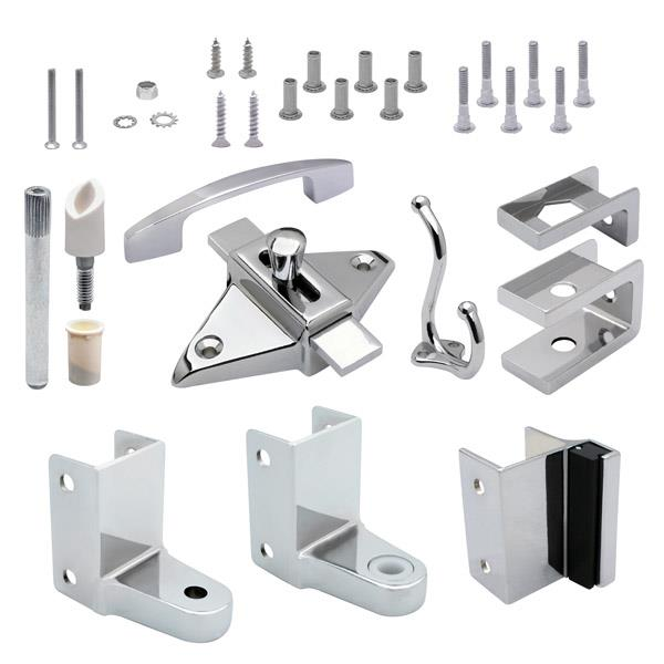 Jacknob 21000, Toilet Door Zamak Hardware Kit for 1in Thick Out-Swing Doors, Chrome :: Image 10