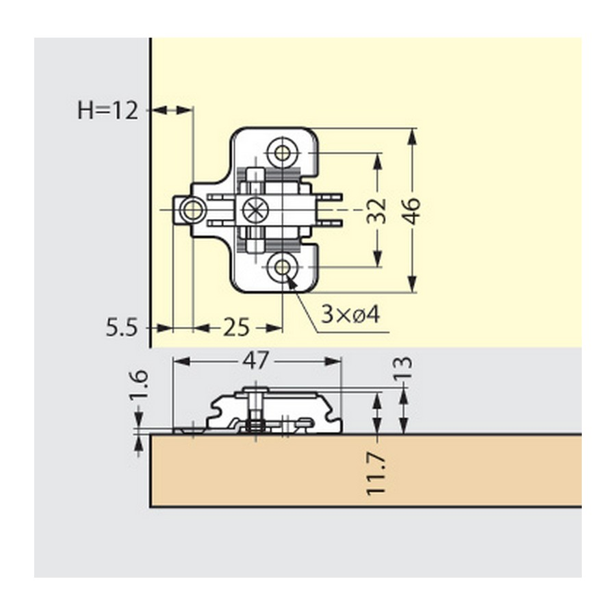 230 Series Hinges Technical Specs Line Drawing