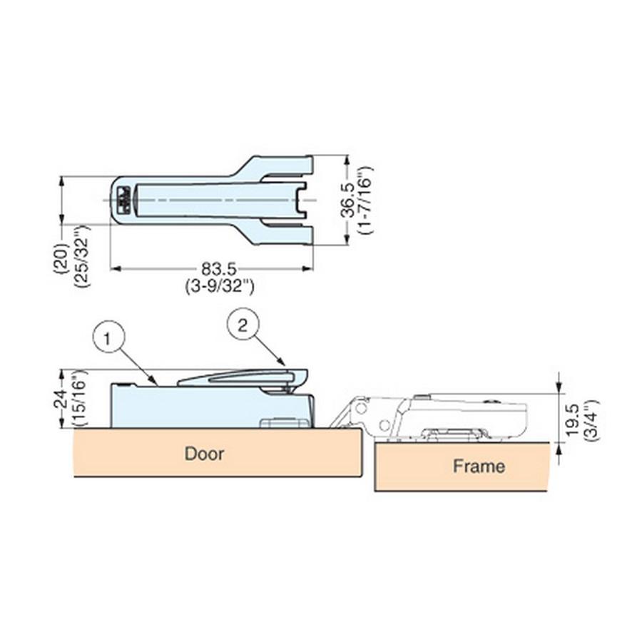 Concealed Hinge Damper Line Drawing