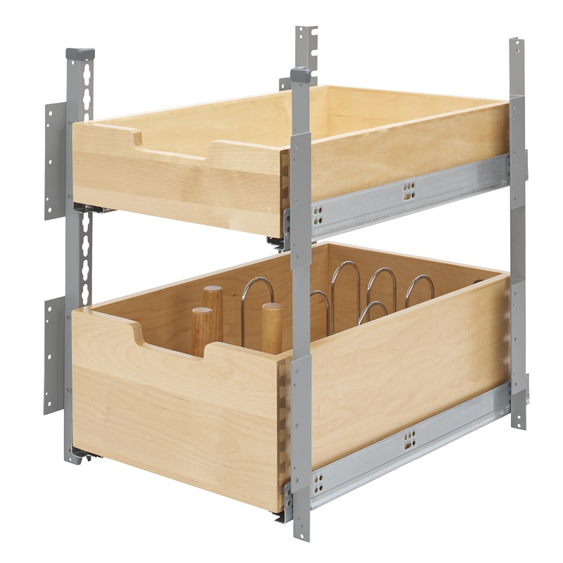 Kitchen Cabinet Drawer Kits: Rev-A-Shelf 4PIL-24SC-SV-2 Silver Pilaster 2-Drawer Kit