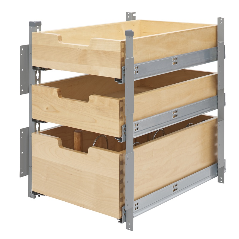 Kitchen Cabinet Drawer Kits: Rev-A-Shelf 4PIL-18SC-SV-3 Silver Pilaster 3-Drawer Kit