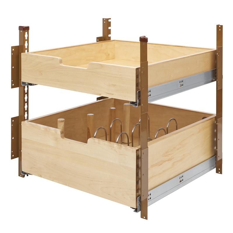 "Rev-A-Shelf 4PIL-24SC-2, 22-5/16""W Base Cabinet Pilaster 2-Drawer Kit with Blum Soft-Close, Brown :: Image 10"