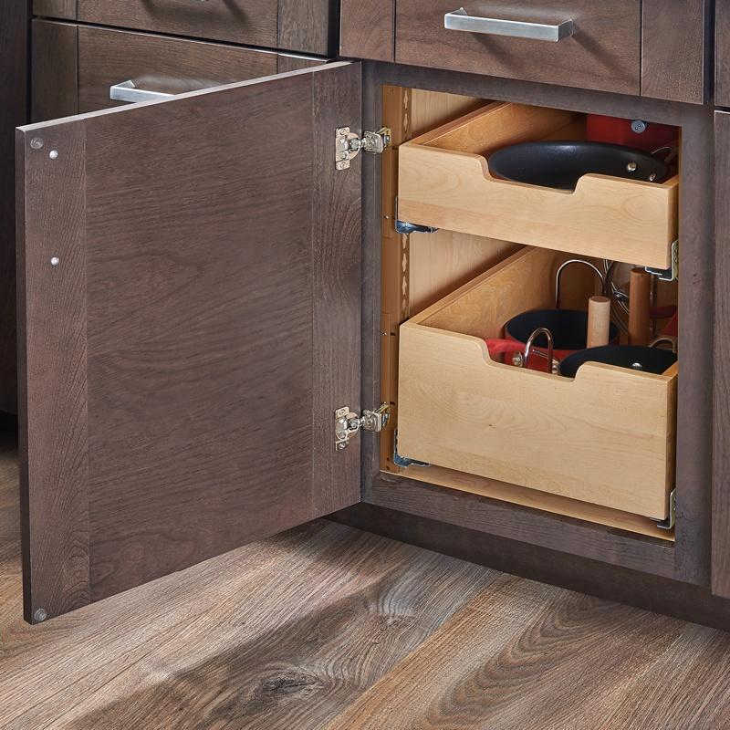 "Rev-A-Shelf 4PIL-24SC-2, 22-5/16""W Base Cabinet Pilaster 2-Drawer Kit with Blum Soft-Close, Brown :: Image 30"