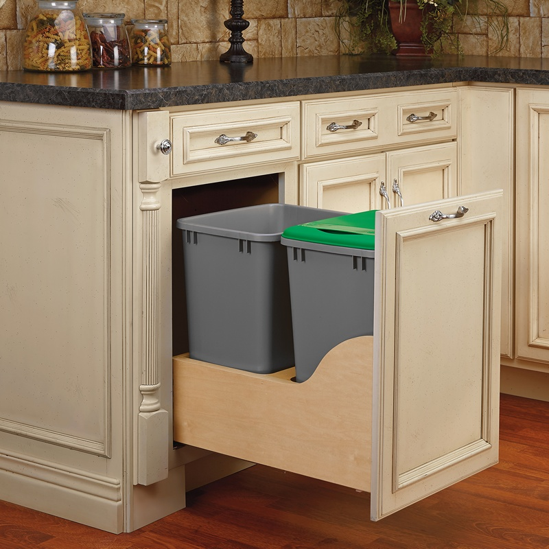 Rev-A-Shelf 4WCSD-1835DM-2, Double 35 Qt. Bottom Mount Trash Pull-Out, Blum Tandem Slides :: Image 30