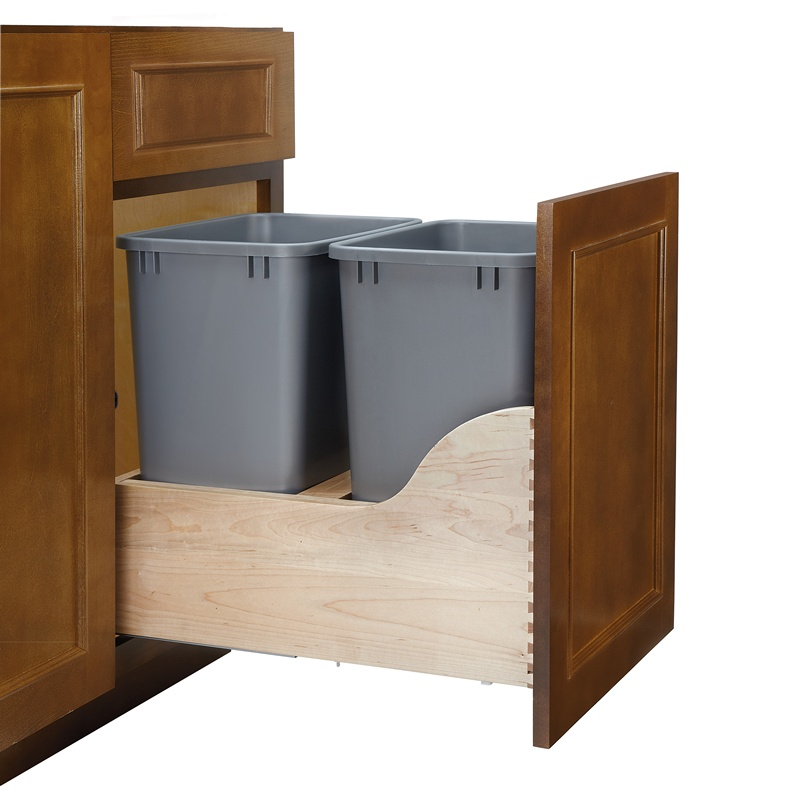 Rev-A-Shelf 4WCSD-1835DM-2, Double 35 Qt. Bottom Mount Trash Pull-Out, Blum Tandem Slides :: Image 40