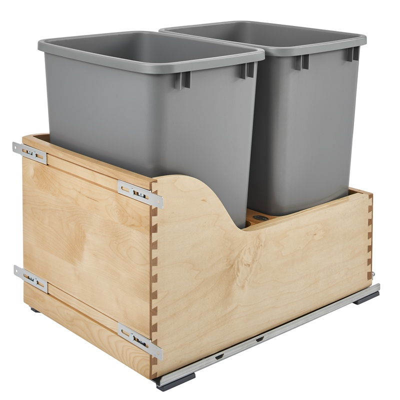 Rev-A-Shelf 4WCSD-1835DM-2, Double 35 Qt. Bottom Mount Trash Pull-Out, Blum Tandem Slides :: Image 10