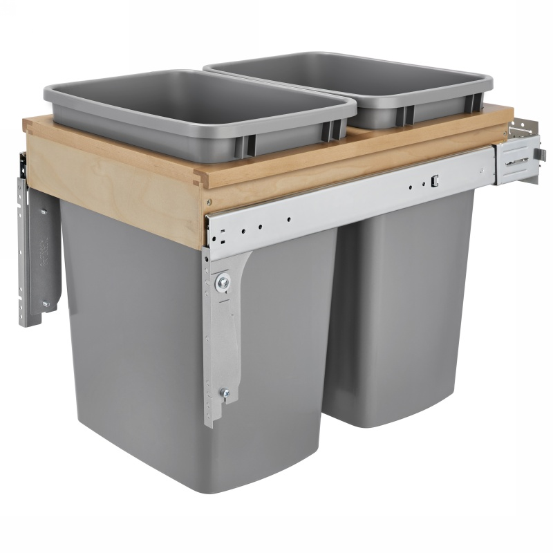 Rev-A-Shelf 4WCTM-18INDM-2 Double 35 Qt. Top Mount Wood Inset Waste Container :: Image 10