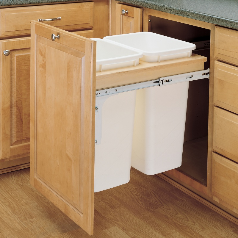 Rev-A-Shelf 4WCTM-2150DM-2, Double 50 Qt. Top Mount Trash Pull-Out, White Slides :: Image 10