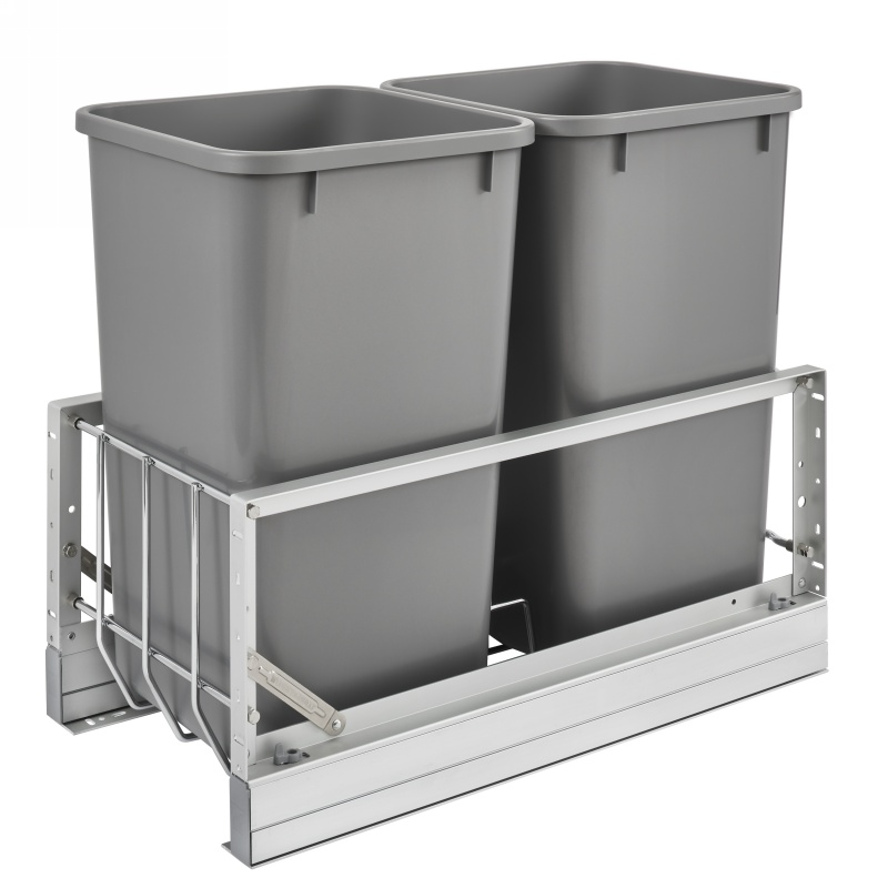 Rev-A-Shelf 5349-1527DM-217 Double 27 Qt. Pullout Waste Containers, Silver :: Image 10