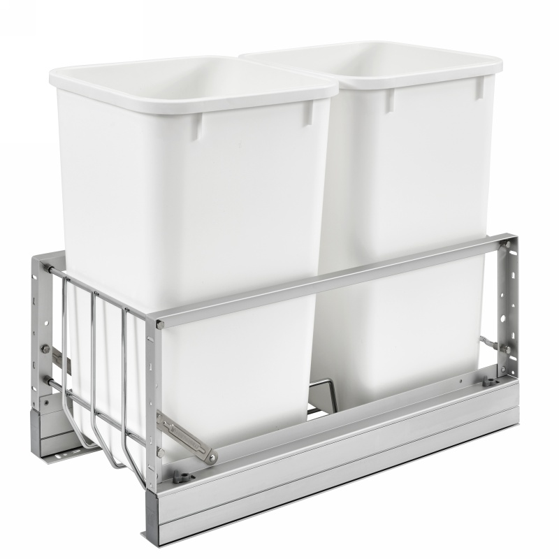 Rev-A-Shelf 5349-1527DM-2 Double Trash Pull-Out 27 Qt., Bottom Mount, White :: Image 10