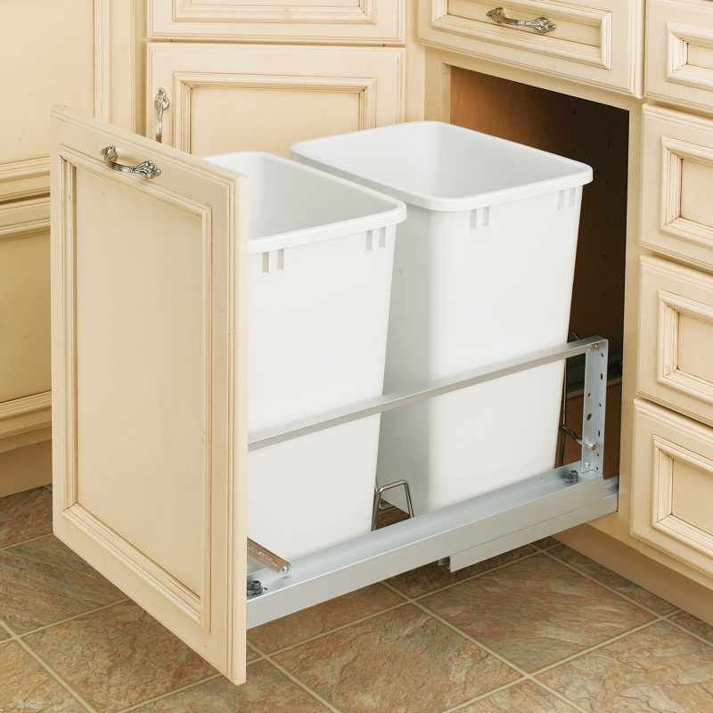 Rev-A-Shelf 5349-18DM-2 Double Trash Pull-Out 35 Qt., Bottom Mount, White :: Image 30