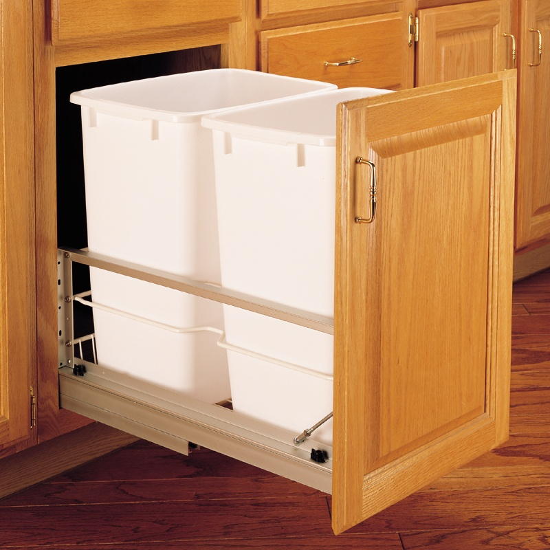 Rev-A-Shelf 5349-18DM-2 Double Trash Pull-Out 35 Qt., Bottom Mount, White :: Image 40