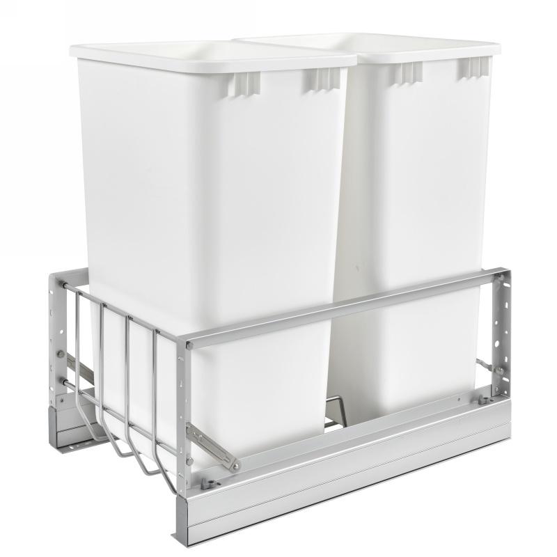 Rev-A-Shelf 5349-2150DM-2 Double Trash Pull-Out 50 Qt., Bottom Mount, White :: Image 10