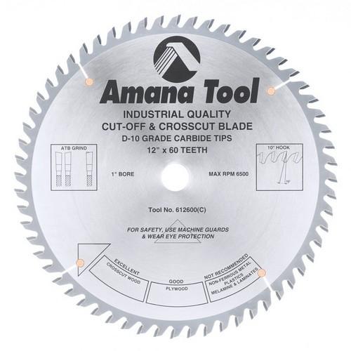 Amana Tool 612600 Carbide Tipped Cut-Off & Crosscut 12 Inch dia. x 60T ATB, 10 Deg, 1 Inch Bore :: Image 10