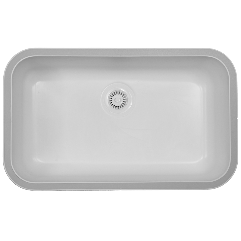 Karran A 340 White 30 1 2 X 18 1 2 Acrylic Undermount Kitchen Sink Single Bowl White