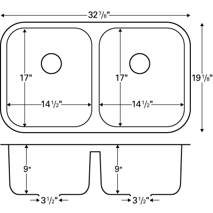 """Karran A350B, 32-7/8"""" x 19-1/8"""" Acrylic Undermount Kitchen Sink, Double Equal Bowls, Bisque :: Image 20"""