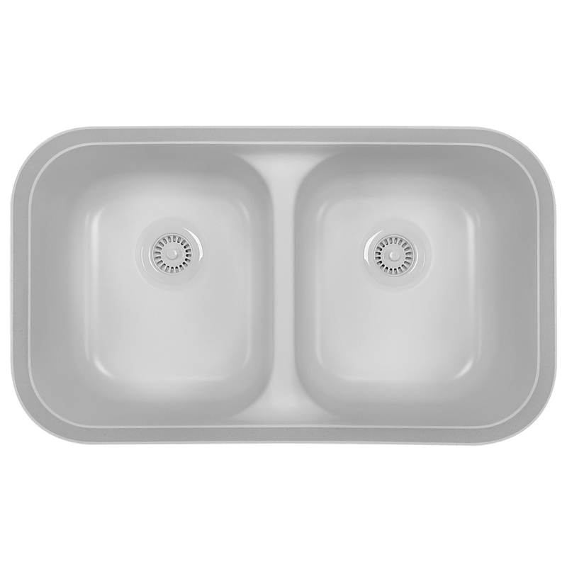 "Karran A350W, 32-7/8"" x 19-1/8"" Acrylic Undermount Kitchen Sink, Double Equal Bowls, White :: Image 10"