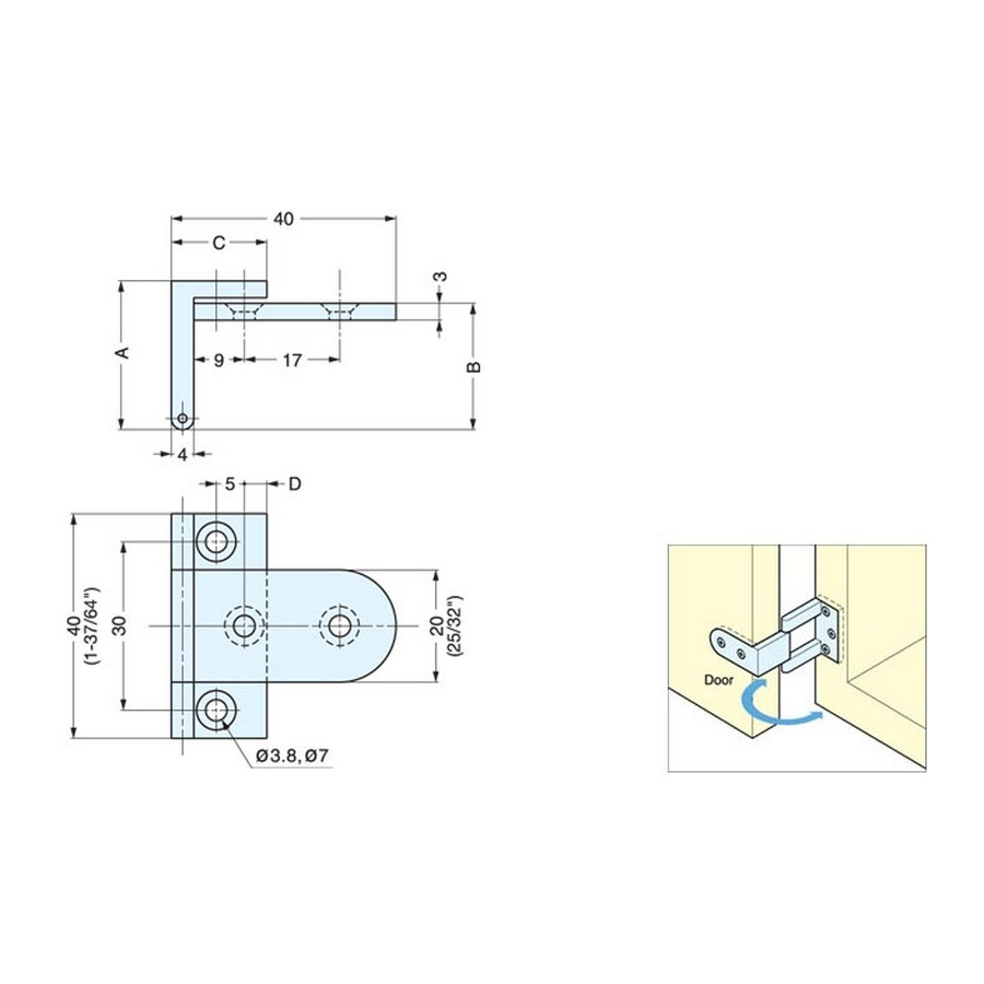 AHS Series Angle Hinge Technical Line Drawing