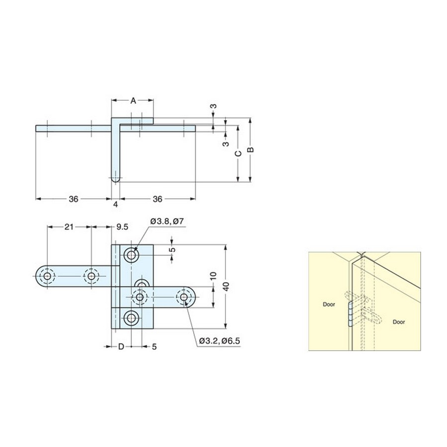 AHW Series Angle Hinge Technical Line Drawing