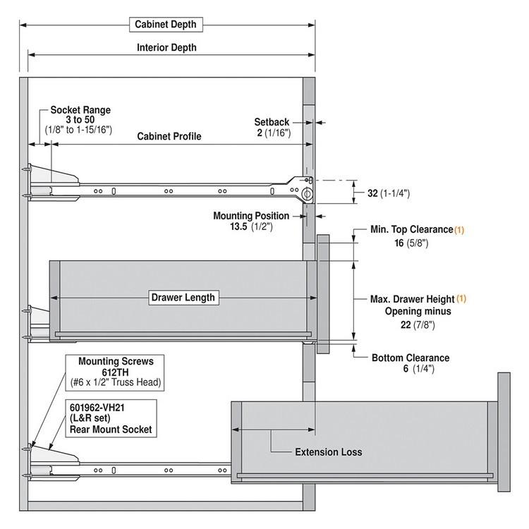 Blum 230e8000 32in Standard 230e Epoxy Drawer Slide Cream