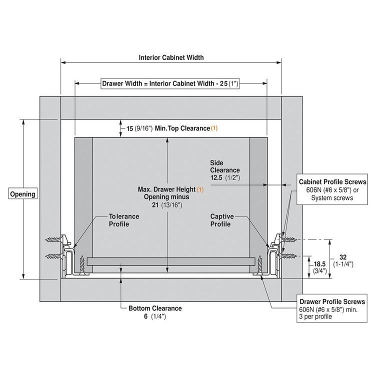 Blum 230E8000 32in Standard 230E Epoxy Drawer Slide, Cream, Polybag :: Image 10