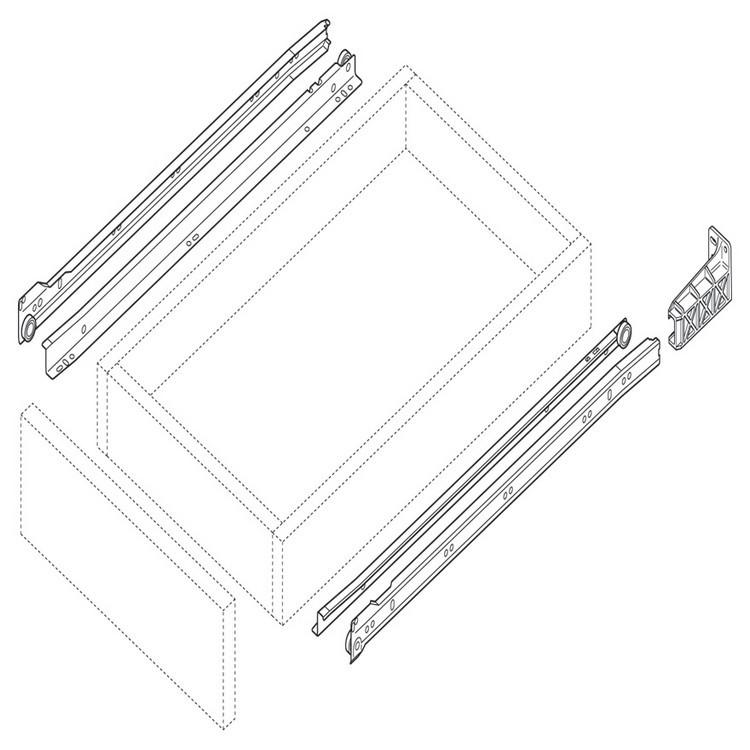 Blum 230M6500 26in Standard 230M Epoxy Drawer Slide, White, Polybag :: Image 20