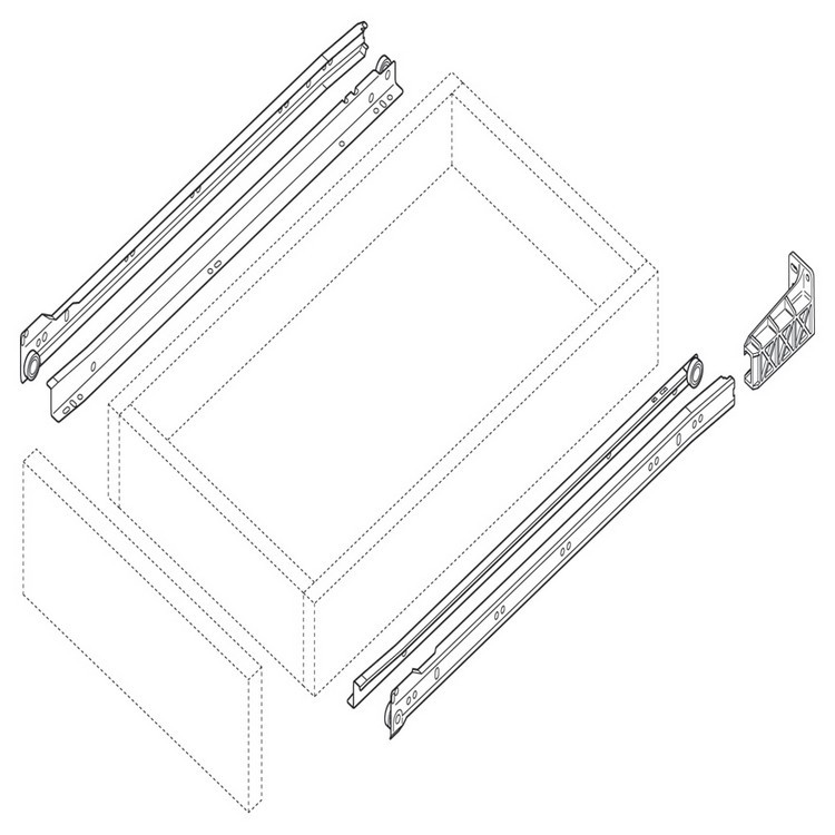 Blum 230M2500 10in Standard 230M Epoxy Drawer Slide, Cream, Polybag :: Image 120