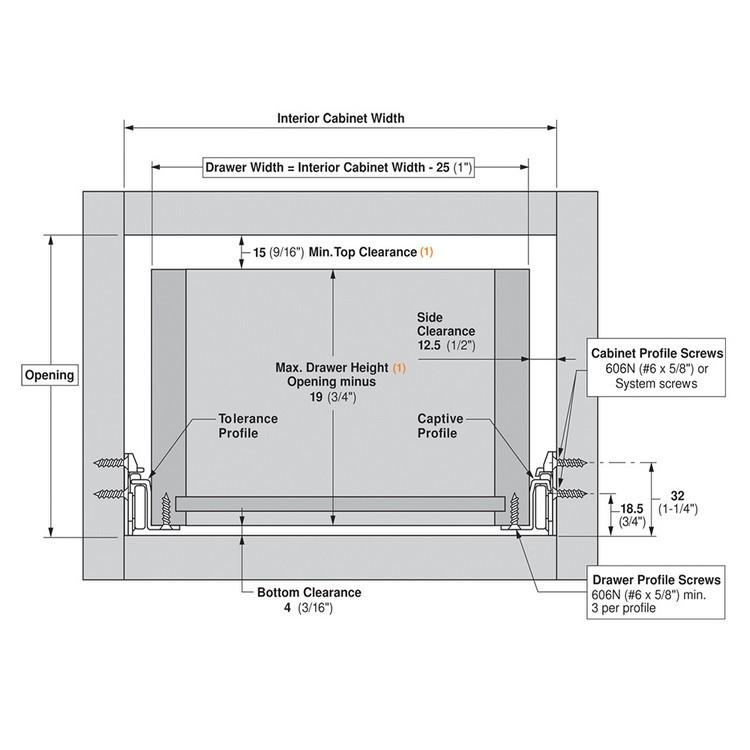 Blum 230M6000 24in Standard 230M Epoxy Drawer Slide Bulk-25 Sets, Cream :: Image 70