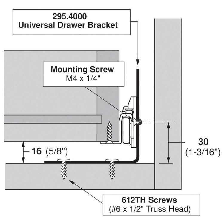 Blum 295.4000 Universal Bracket for Tandem Drawer Slide :: Image 100