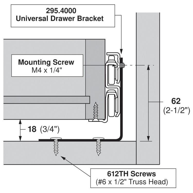 Blum 295.4000 Universal Bracket for Tandem Drawer Slide :: Image 90