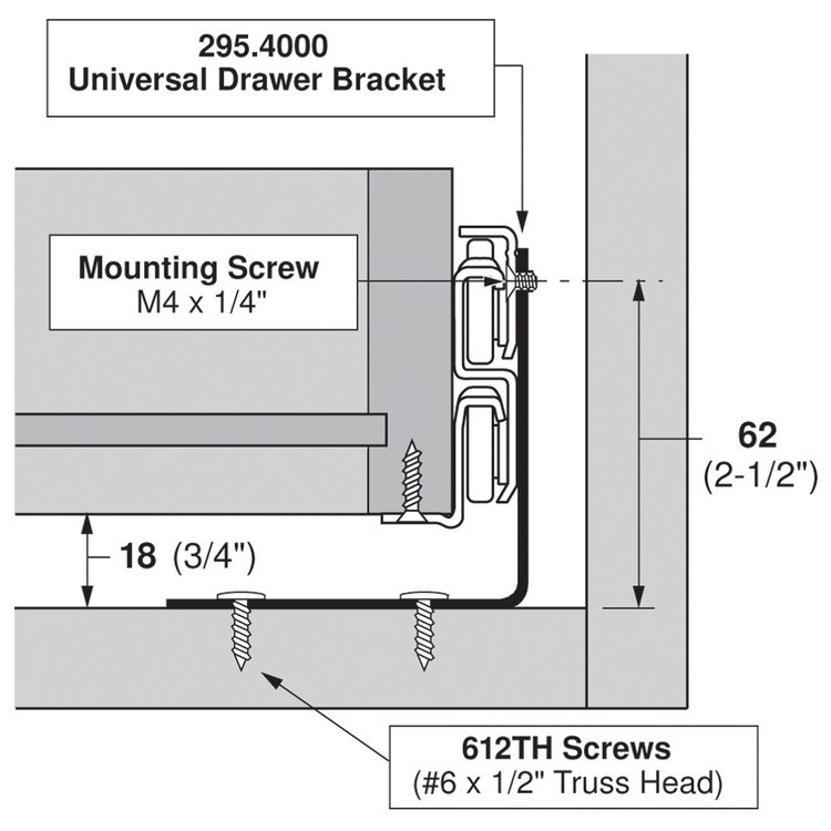 Blum 295.4000 Universal Bracket for Tandem Drawer Slide :: Image 40