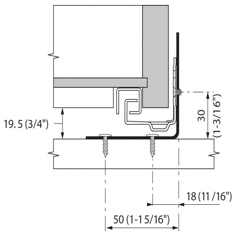 Blum 295.4000 Universal Bracket for Tandem Drawer Slide :: Image 60
