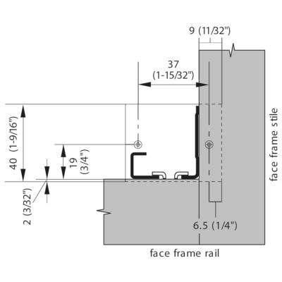 Blum 2956400 Rear Mount Socket for 552/562/563 TANDEM Drawer Slides :: Image 30