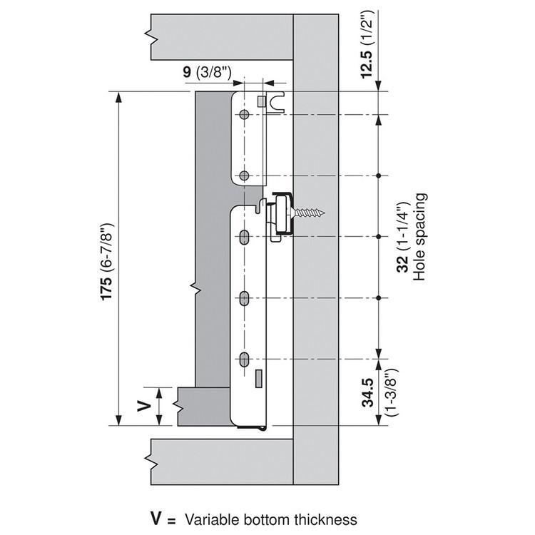 Blum 320K4500C15 18in METABOX 320K Slide, 5in Side Height, 3/4 Ext :: Image 210