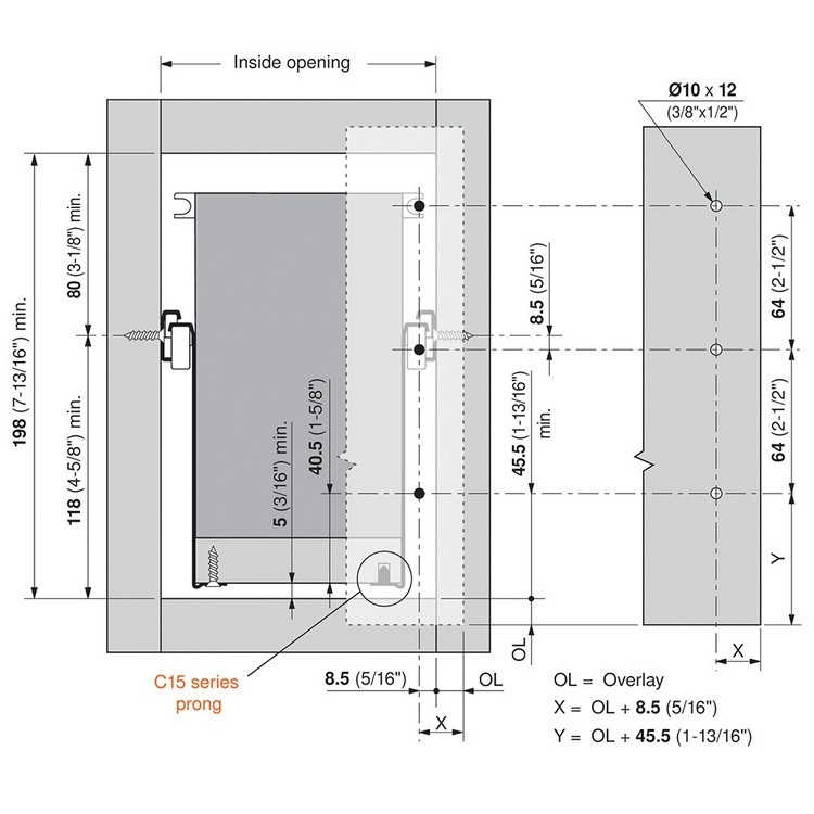 Blum 320K4500C15 18in METABOX 320K Slide, 5in Side Height, 3/4 Ext :: Image 110