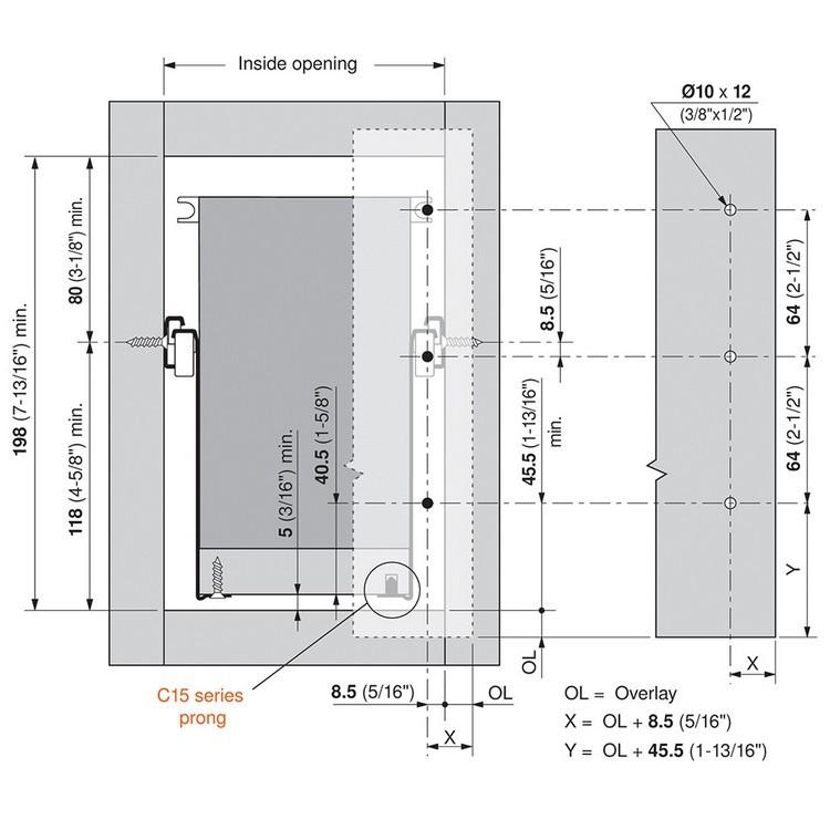 Blum 320K4500C15 18in METABOX 320K Slide, 5in Side Height, 3/4 Ext :: Image 220