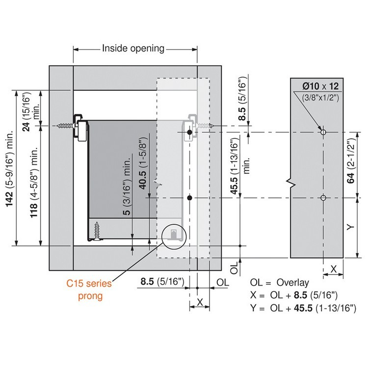 Blum 320K4500C15 18in METABOX 320K Slide, 5in Side Height, 3/4 Ext :: Image 150