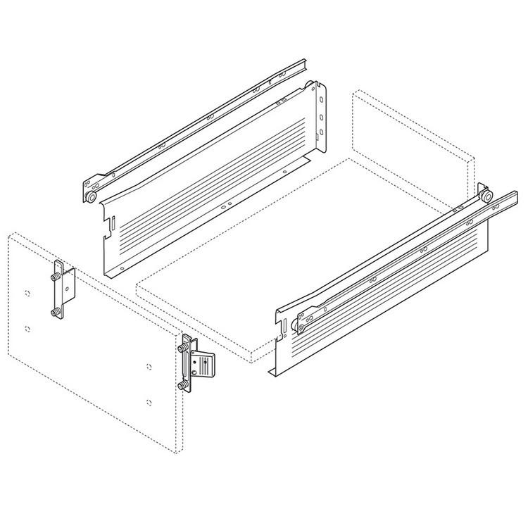 Blum 320K5500C15 22in METABOX 320K Slide, 5in Side Height, 3/4 Ext :: Image 110