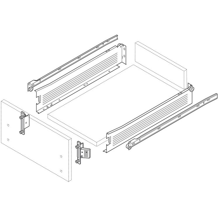 Blum 320M4500C15 18in METABOX 320M Slide, 4in Side Height, 3/4 Ext :: Image 70