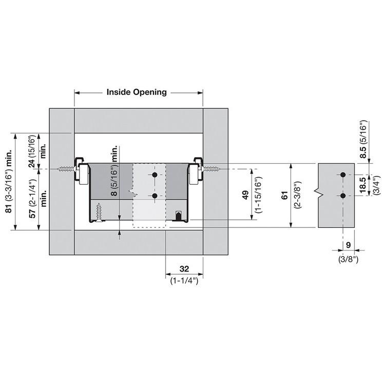 Blum 320N5500C15 22in METABOX 320N Slide, 2in Side Height, 3/4 Ext :: Image 130