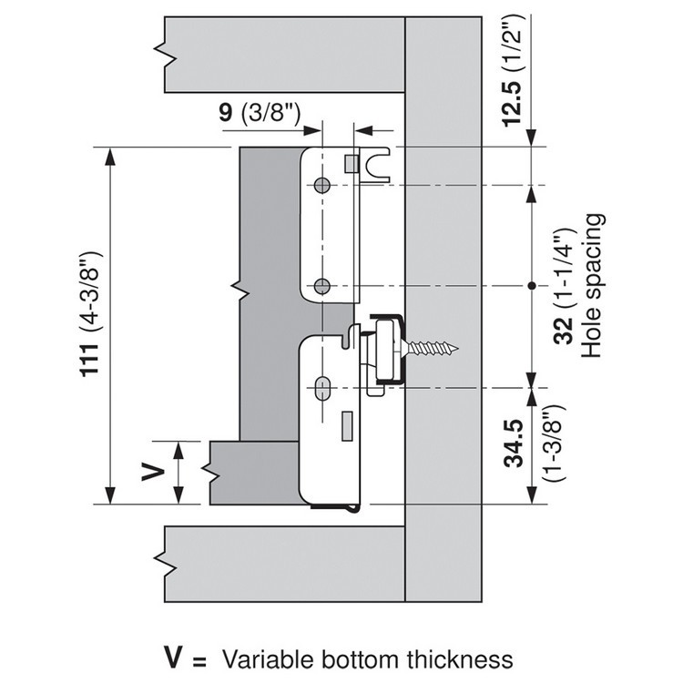 Blum 320N4000C15 16in METABOX 320N Slide, 2in Side Height, 3/4 Ext :: Image 100