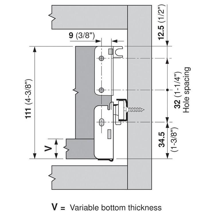 Blum 320N5500C15 22in METABOX 320N Slide, 2in Side Height, 3/4 Ext :: Image 230