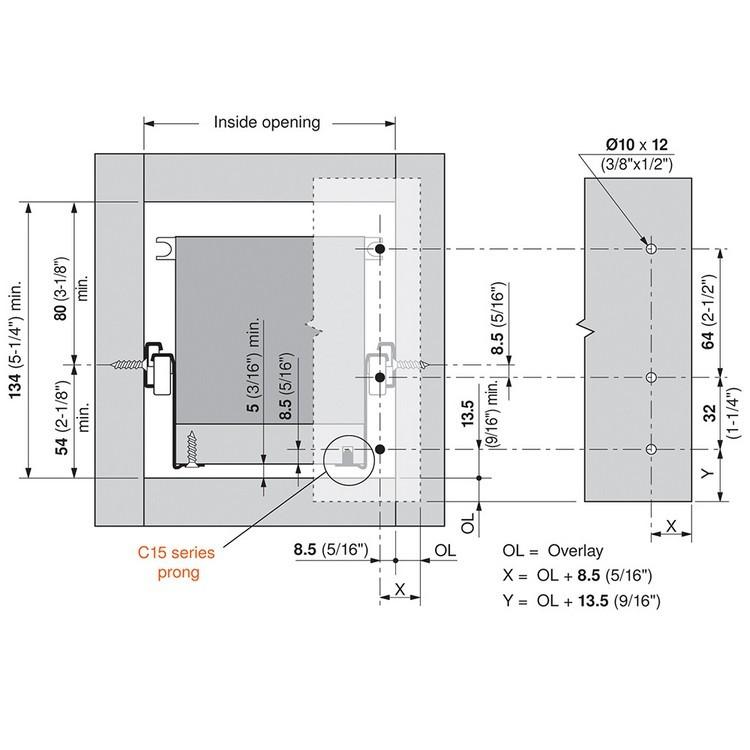 Blum 320N5500C15 22in METABOX 320N Slide, 2in Side Height, 3/4 Ext :: Image 100