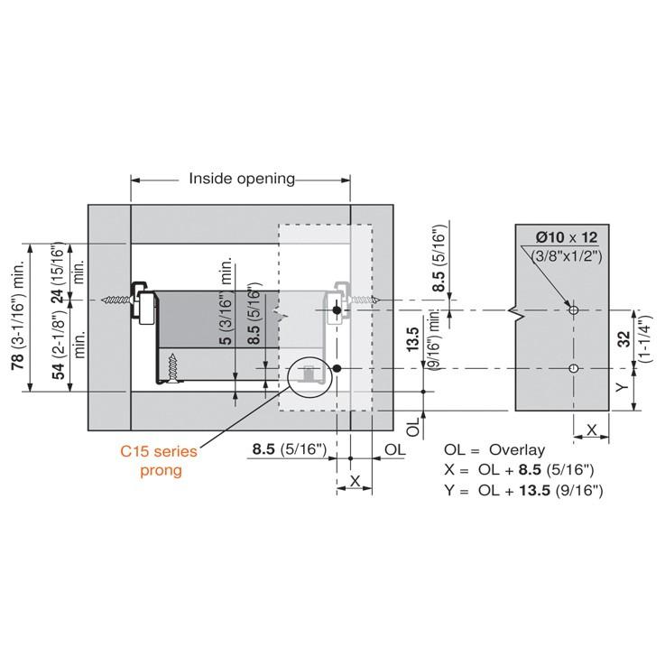 Blum 320N5500C15 22in METABOX 320N Slide, 2in Side Height, 3/4 Ext :: Image 150