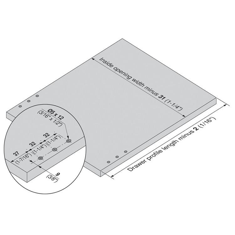 Blum 320N5500C15 22in METABOX 320N Slide, 2in Side Height, 3/4 Ext :: Image 170