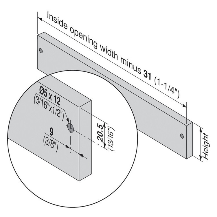 Blum 320N5000C15 20in METABOX 320N Slide, 2in Side Height, 3/4 Ext :: Image 200