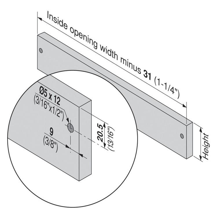Blum 320N5500C15 22in METABOX 320N Slide, 2in Side Height, 3/4 Ext :: Image 180